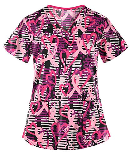 (Women's Passion for Pink Black Stretch Print Scrub Top (XS-3X) (XX-Large) )