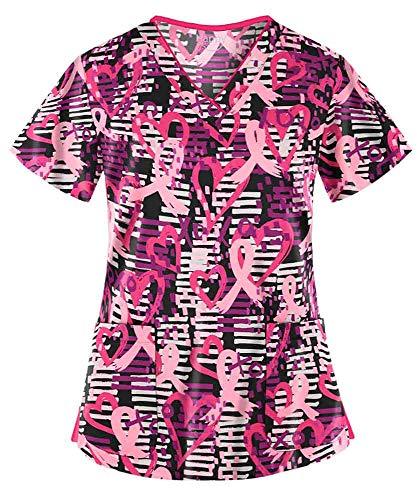 - Women's Passion for Pink Black Stretch Print Scrub Top (XS-3X) (Large)