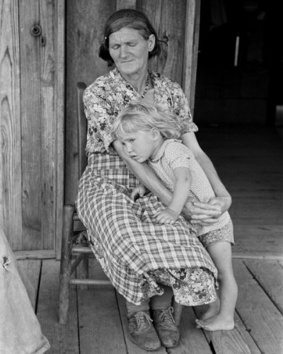 (1938 Great Depression photo of Grandmother and child, Southeast Missouri Farms Vintage 8x10 Photograph - Ready to Frame)