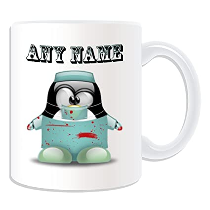 De regalo con mensaje personalizado - taza de desayuno cirujano (pingüino diseño de traje de
