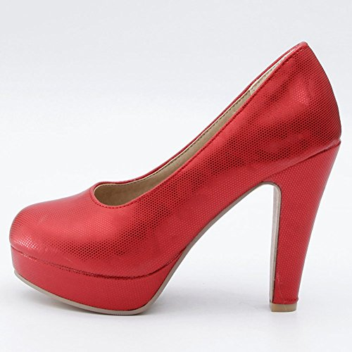 Platform High Block Low Pumps Shoes Work Toe Heel on Red Slip Elegant Closed Wedding KingRover Women's Cut HqW8FHOn