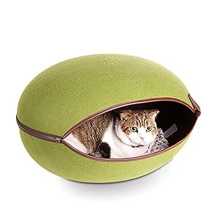 eDealMax Forma de huevo Natural cómodo desmontable Para mascotas de la perrera Casa fácilmente lavable perrito