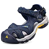 HUMTTO Mens Hiking Outdoor Sandals Summer athtletic Walking Water Shoes with Closed Toe (Men Size US 11.5, Blue)