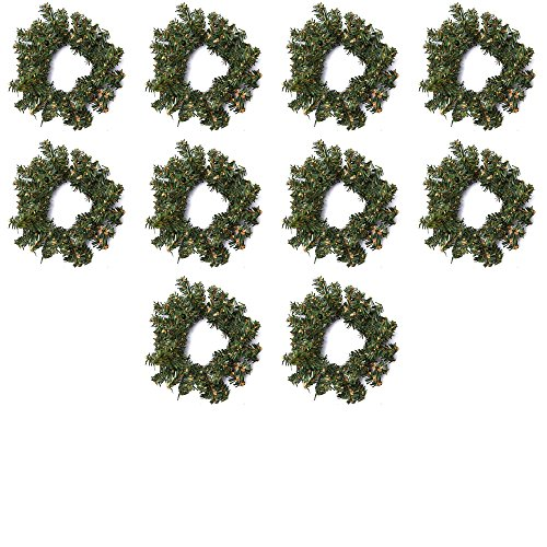 Factory Direct Craft Group of 10 Artificial Holiday Pine Wreaths (4 Inch)
