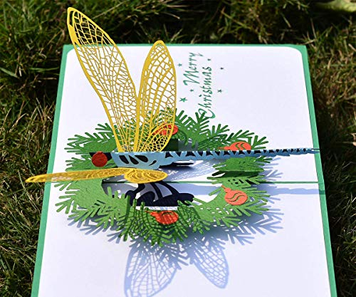 CUTPOPUP Greeting Christmas Pop Up Card with Christmas Dragonfly- Sophisticated Design, Highly Handmade Skilled- Great Gift for Kids, Animal Lovers in Birthday, Anniversarie- Includes elegant envelope (Elegant Christmas Handmade Cards)