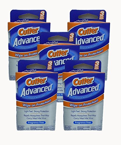 Cutter Advanced Insect Repellent Fragrance Free Wipes 6x7', 3 Count (Pack of 6)