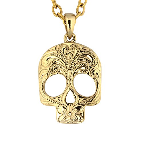 Hawaiian Jewelry by Austaras - Skull Necklace Pendant Hawaii Style Hypoallergenic 316L Stainless Steel 14K Gold Plated Engraved with Hibiscus Flower and Expandable Chain (Hawaiian Gold Jewelry)