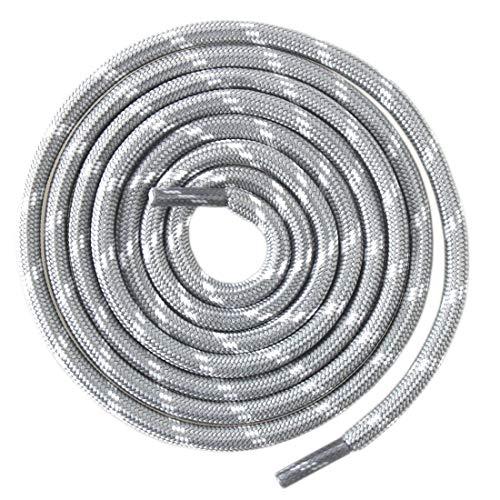 Mshega Round Athletic Shoelaces Dot Hiking Shoe Laces(Light Grey White,120) - Grey White Dots