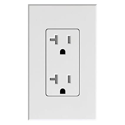 Lutron Deep Back Cover Nova T Receptacle 20Amp White (NTR-20-WH)