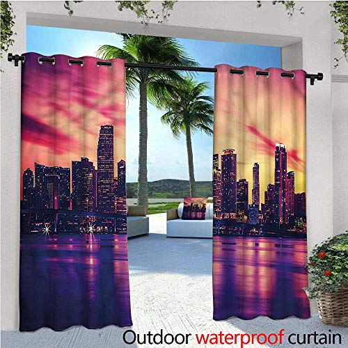 warmfamily United States Exterior/Outside Curtains View of Miami Sunset for Patio Light Block Heat Out Water Proof Drape W108 x L96 ()