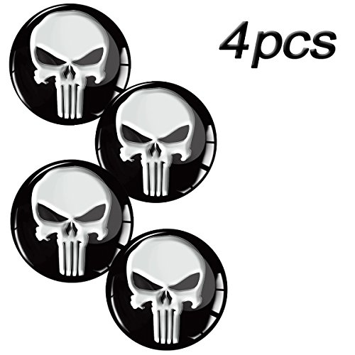 Skino 4 x 3D Gel Silicone Stickers for Rims Wheel Center Centre Hub Caps Auto Tuning PUNISHER SKULL ZOMBIE A 12 (Diameter- 68mm - 2.68