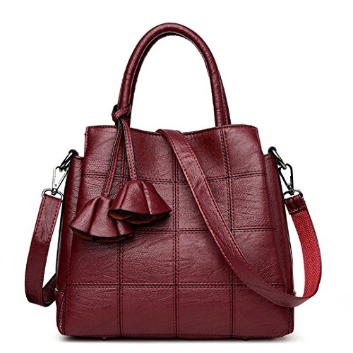 Diseñador de bolsos Bolsas para Mujer bolsos de cuero Bolsos Mujer Bolso Bolso Messenger Crossbody femenino un saco púrpura TARO Principal Red Wine