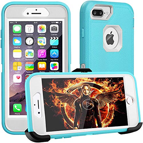 iPhone 8 Plus Case,iPhone 7 Plus Case,iPhone 6s Plus Case,FOGEEK[Dust-Proof]Belt-Clip Heavy Duty Kickstand Cover[Shockproof] PC+TPU for Apple iPhone 7 Plus,iPhone 6/6s Plus(Blue and White)