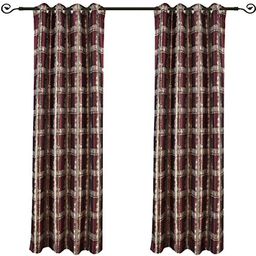 Cheap Set of 2 Panels 104″ Wx108 L -Royal Tradition -Burgundy- Abstract Jacquard Studio Curtain, 52-Inch by 108-Inch Each Panel. Package Contains Set of 2 Panels 108 inch Long