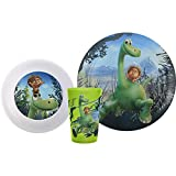 Zak! Designs 3-piece Mealtime Set includes Plate, Bowl and Tumbler featuring Arlo, Spot, Cliff, Ivy, and Forrest from Pixar's The Good Dinosaur, BPA-free