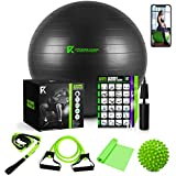 The Ultimate Yoga Ball Set - 5 in 1 Fitness Ball Set, Resistance Band, Pilates Band, Stretch Yoga Strap, and Spiky Massage Ball with Fitness Guide and Videos Swiss Ball