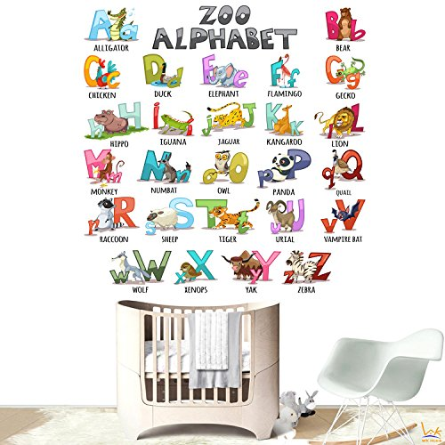 Alphabet Wall Decals Sticker - WK Home, 26 Animals Alphabet Peel and Stick Wall Art for Nursery and Kids Bedroom and Living Room