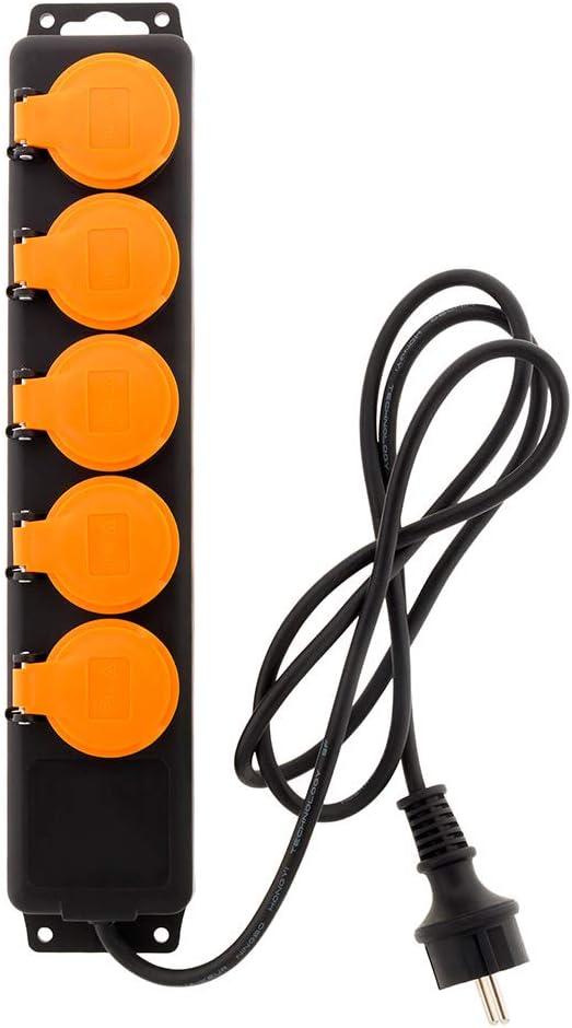C/âble HO5RRF 3G1 de 1,5m Bloc /Étanche IP44 5 Prises 16A 2P+T avec Clapets et Interrupteur