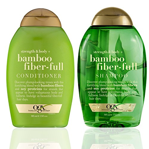 OGX Strength + Body Bamboo Fiber Full Shampoo and Conditioner Set, 13 Fl oz each