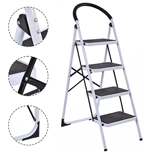 NEW 4 Step Ladder Folding Stool Heavy Duty 330Lbs Capacity Industrial Lightweight