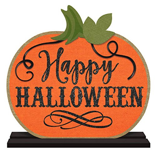 Happy Halloween Pumpkin Party Decoration Base Standing (Glitter Happy Halloween Sign)