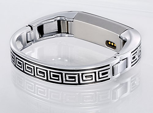 Famobest for Fitbit Alta HR Bands Fitbit Alta Bands for Women Men, Stainless Steel Alta Fit bit Bands Alta Fitbit Bands Fitbit Alta Replacement Bands Wristbands Small Large Greek Key Silver