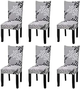 YISUN Dining Chair Slipcovers,[Scenery Series] Stretch Removable Washable Dining Chair Protector Cover Seat Slipcover Hotel,Dining Room,Ceremony,Banquet Wedding Party (6, S07)