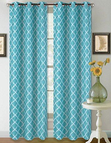 1 Set Aqua White 108'' Geometric Lined Blackout Grommet Window Drape Curtain by Modern Curtain