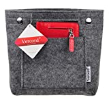 Vercord Felt Tote Handbag Purse Pocketbook Organizer Insert Divider Shaper Bag in Bag, Mini-Grey