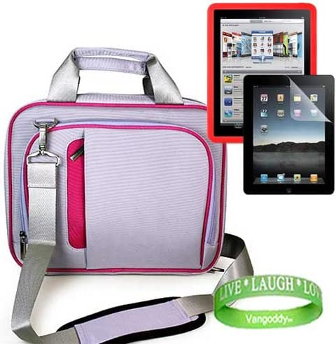 HOT PINK TRIM Apple iPad Messenger Bag Carrying Case Live Laugh Love Wrist Band!!! Apple iPad Accessories kit for travel and protection Includes: PURPLE Apple iPad Screen Protector RED Apple iPad Silicone Skin
