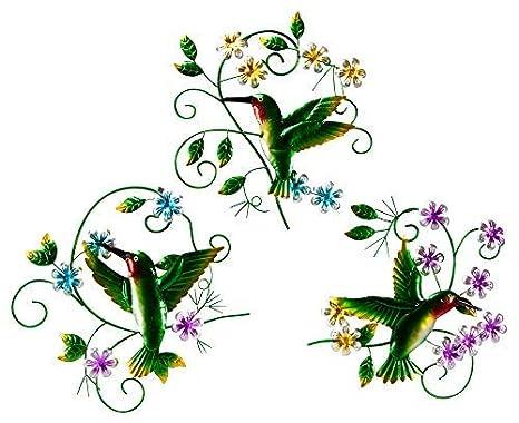 The Paragon Hummingbird Outdoor Patio Wall Decor 3 Piece Garden Wall Ornaments Outdoor Or Indoor Decoration