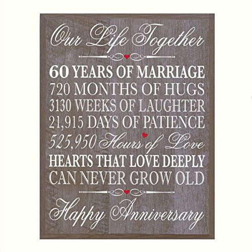 (LifeSong Milestones 60th Wedding Anniversary Wall Plaque Gifts for Couple, 60th for Her,60th Wedding for Him 12