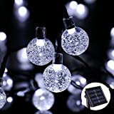 Solar String Lights, 20ft 30 LED Waterproof Outdoor Globe Fairy Lighting for Indoor/Outdoor, Christmas, Home, Patio, Lawn, Garden, Wedding, Party, and Easter Day Decorations (White) ()