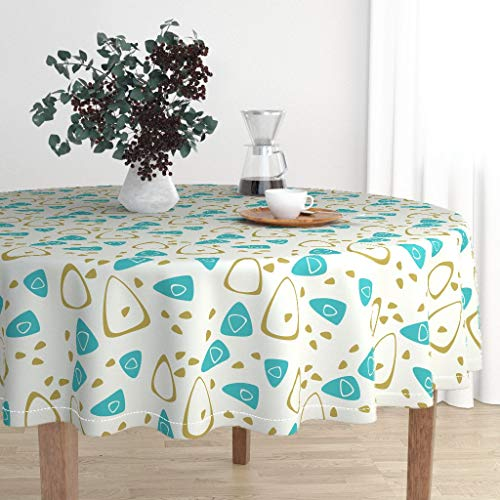 Round Tablecloth - Atomic Space Age Mid Century MCM Eames Era Retro Amoeba by Aquab0y - Cotton Sateen Tablecloth 90in