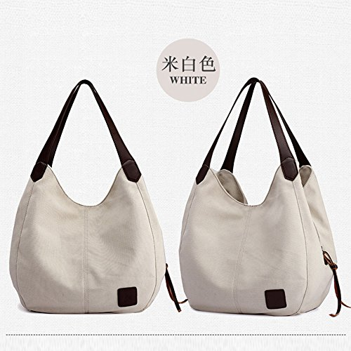 Shoulder Bag Clearance Shopping Messenger Sale Women's Multi Tote Pocket Single Handbags White ZOMUSA Bags Canvas Casual Tzwf7T