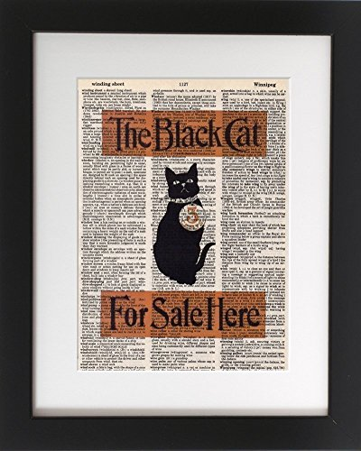 Black Cat for Sale - Upcycled Dictionary Meme Art Print 8x10. - UNFRAMED - Frame and matting are for presentation purposes only to show you how they can look.