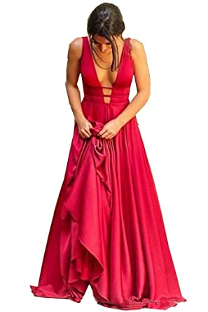 Cloverdresses Womens Deep V Neck Backless Prom Dresses Long 2017 Sexy Open Back Party Ball Gown Bridesmaid Dresses at Amazon Womens Clothing store:
