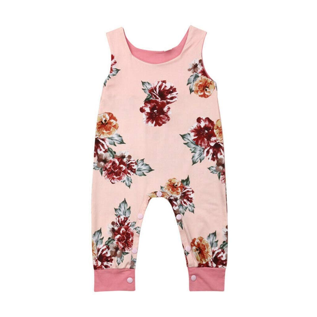 2019 Newborn Toddler Baby Girl Floral Romper Jumpsuit One-Pieces Summer Sleeveless Round Neck Cotton Costume Outfit Clothes