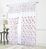 Cheap Elegant Comfort Luxury Curtain/Window Panel Set with Attached Valance and Backing 55″ X 84 inch (Set of 2), White/Red