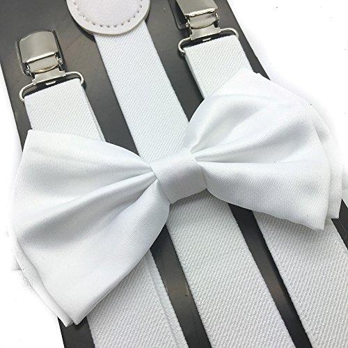 White Costumes Suspenders (4everStore Unisex Bow Tie & Suspender Sets, White)