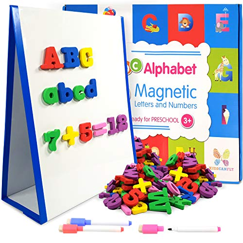 Magnetic Whiteboard with 104 ABC Alphabet Magnetic Letters and Numbers + 3 Markers, Educational Toy for Kids Preschool, Learning Alphabet and Numbers with Magnets Magnetic Whiteboard with Drawing Pens