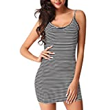 Woaills-Tops Women Mini Dress,Ladies Summer Striped Round Neck Blackless Sleeveless Dress (S, Black)