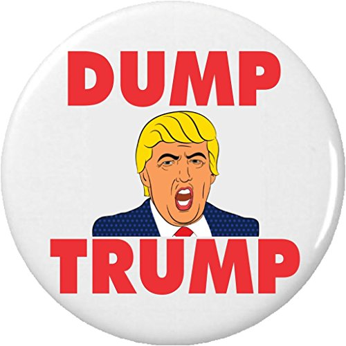 "DUMP TRUMP Cartoon Donald Anti Against for President 2.25"" Large Button Pin"