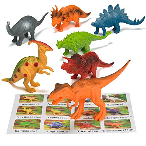 Prextex Realistic Looking 7'' Dinosaurs Pack of 12 Large Plastic Assorted Dinosaur Figures With Dinosaur Book by Prextex (Image #5)
