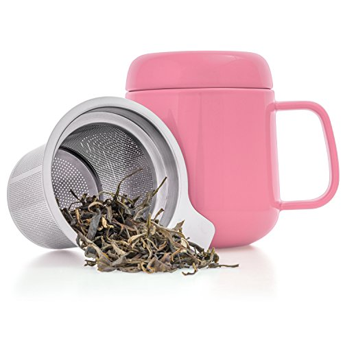 Tealyra - Sumo Ceramic Pink Tea Cup Infuser - 13.5-ounce - Small Mug with Lid and Stainless Steel Filter For Loose Leaf Tea - Tea-For-One - 400 ml