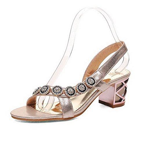 AgooLar Mujeres Tacón ancho con Diamante de Imitación Sólido Puntera Abierta Sandalia Gold