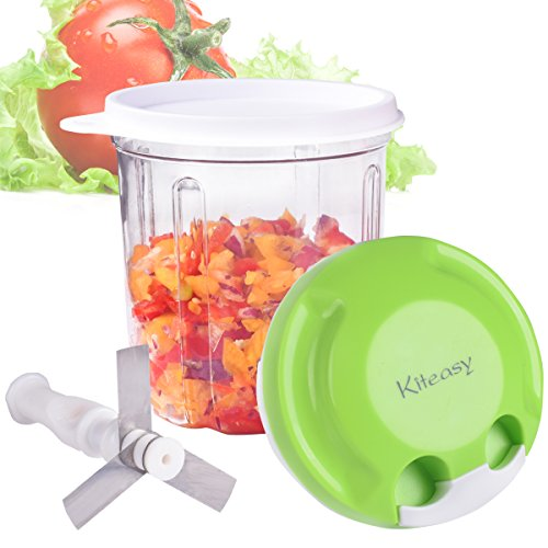 Vegetable Chopper, Kiteasy Quick Pull Manual Food Chopper Mini Food processor for Fruits, Veggies, Garlics, Onion (Green -