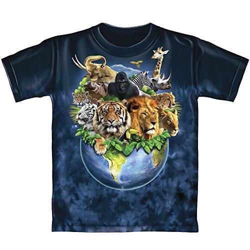Animals on Planet Earth Tie-Dye Youth Tee Shirt (Large 12-14) (Little Big Planet Kids Tshirt)