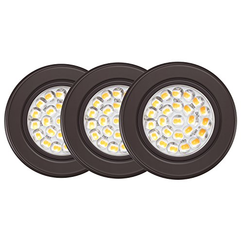 GetInLight Dimmable LED Puck Lights Kit with ETL Listed, Recessed or Surface Mount Design, Soft White 3000K, 12V, 2.5W, Bronze Finished, (Pack of 3), IN-0113-3-BZ