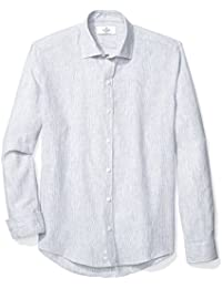 Men's Slim Fit Spread-Collar Linen Sport Shirt Without Pocket